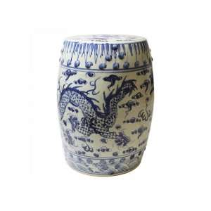 BLUE DRAGON DRUM STOOL - STUART MEMBERY HOME COLLECTION