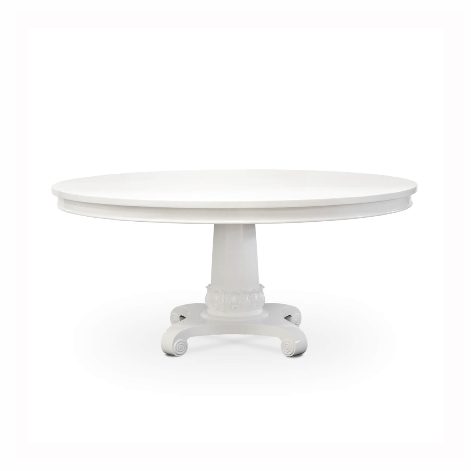 white dining table, colonial furniture, round dining table, mahogany