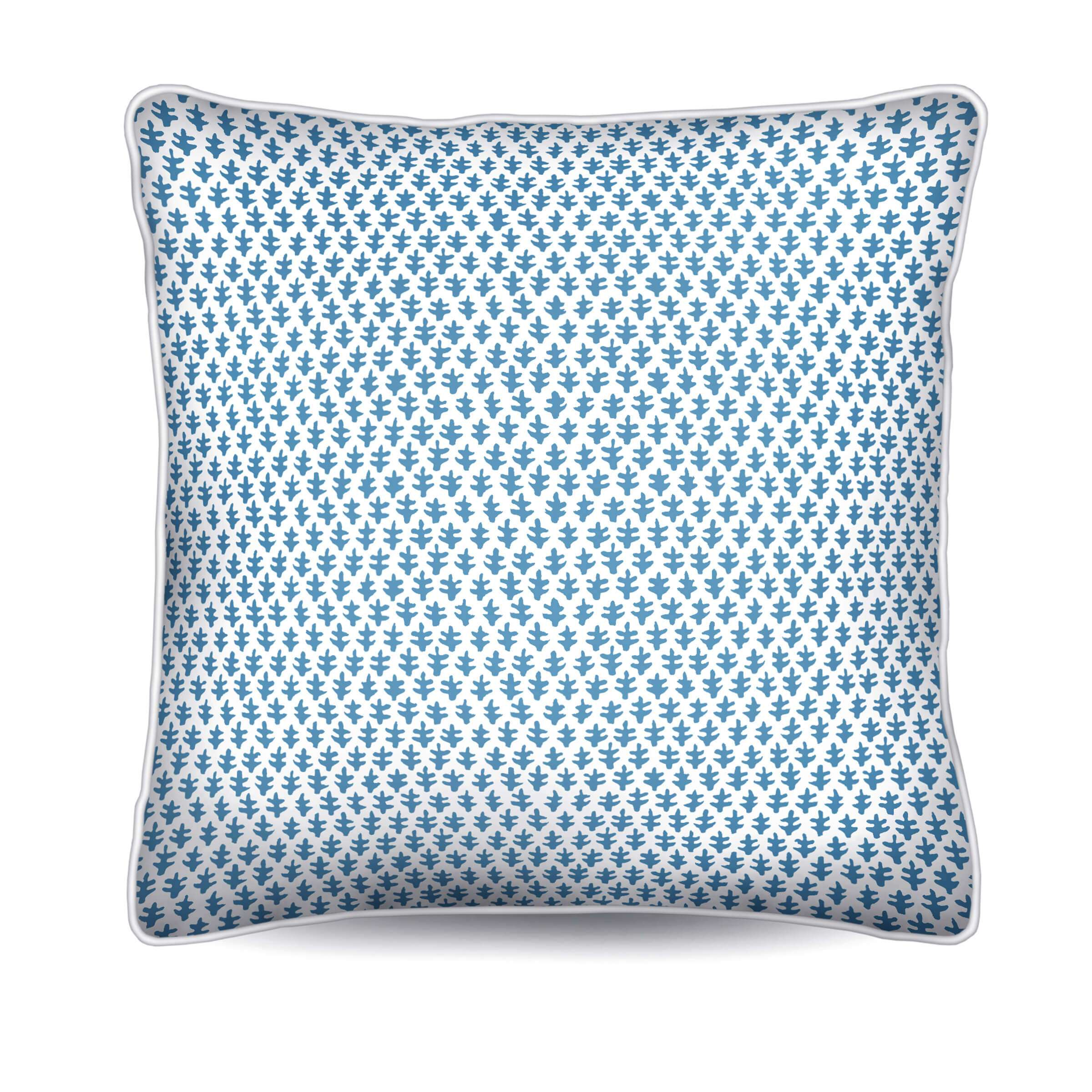 blue and white pillow, batik, foulard