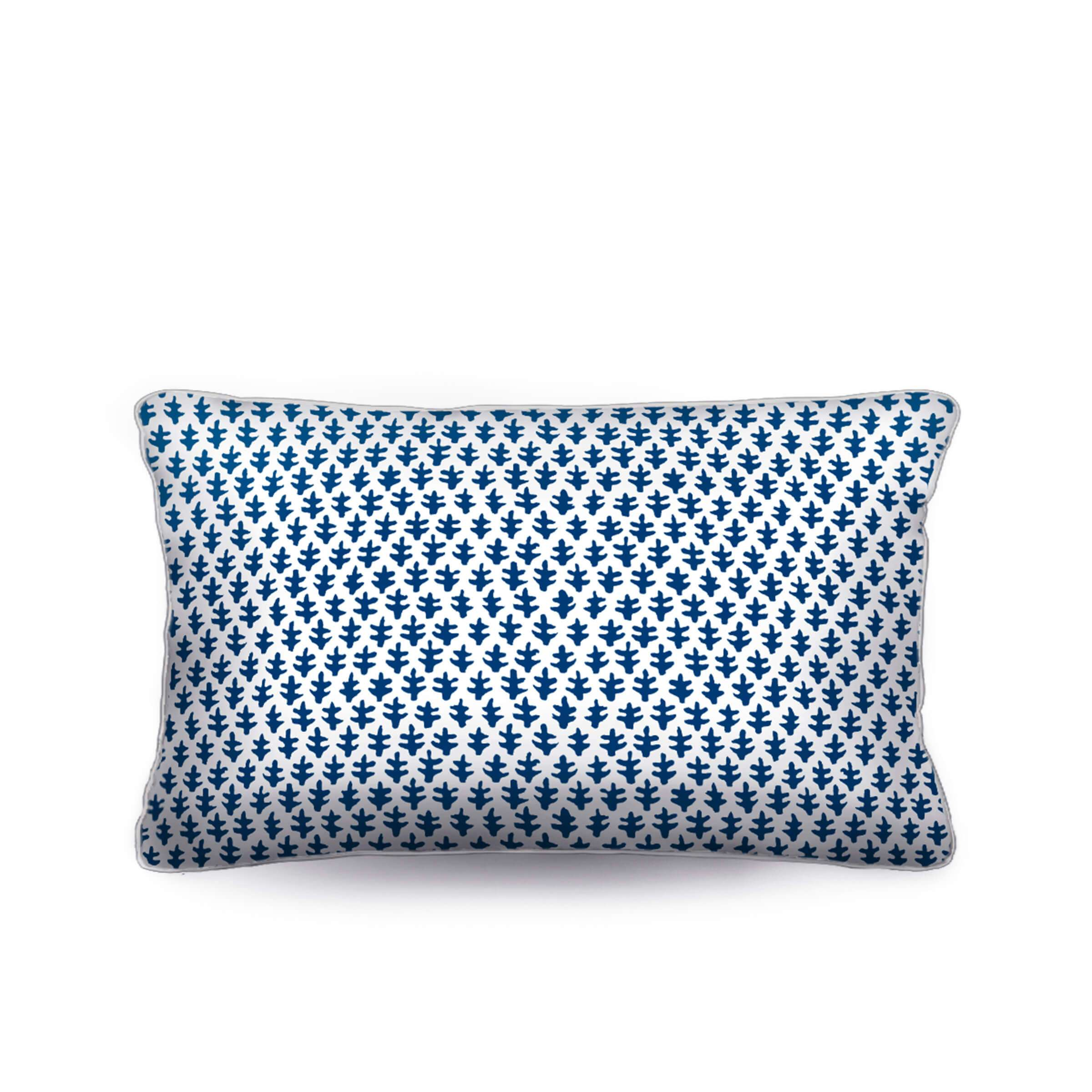 blue and white pillow, lumbar