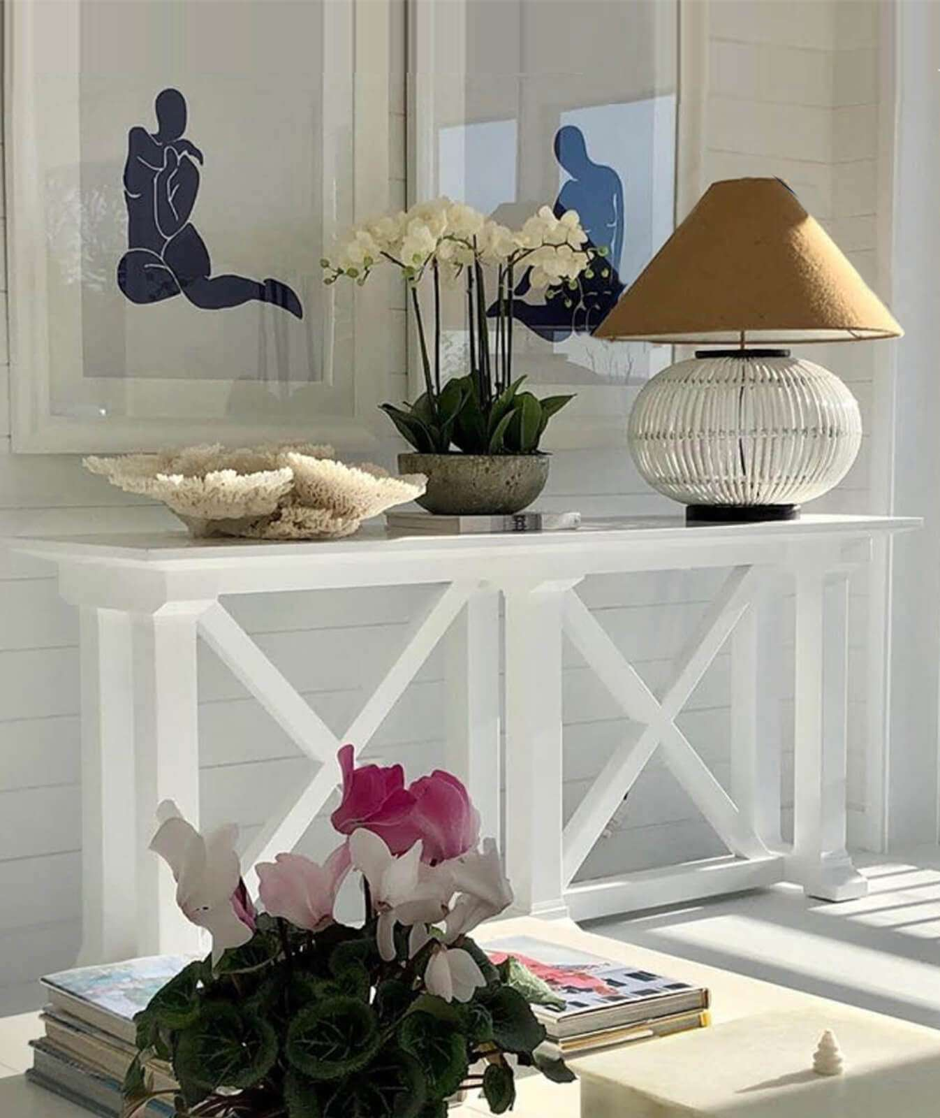 console table, white console table, hamptons console, rattan table light
