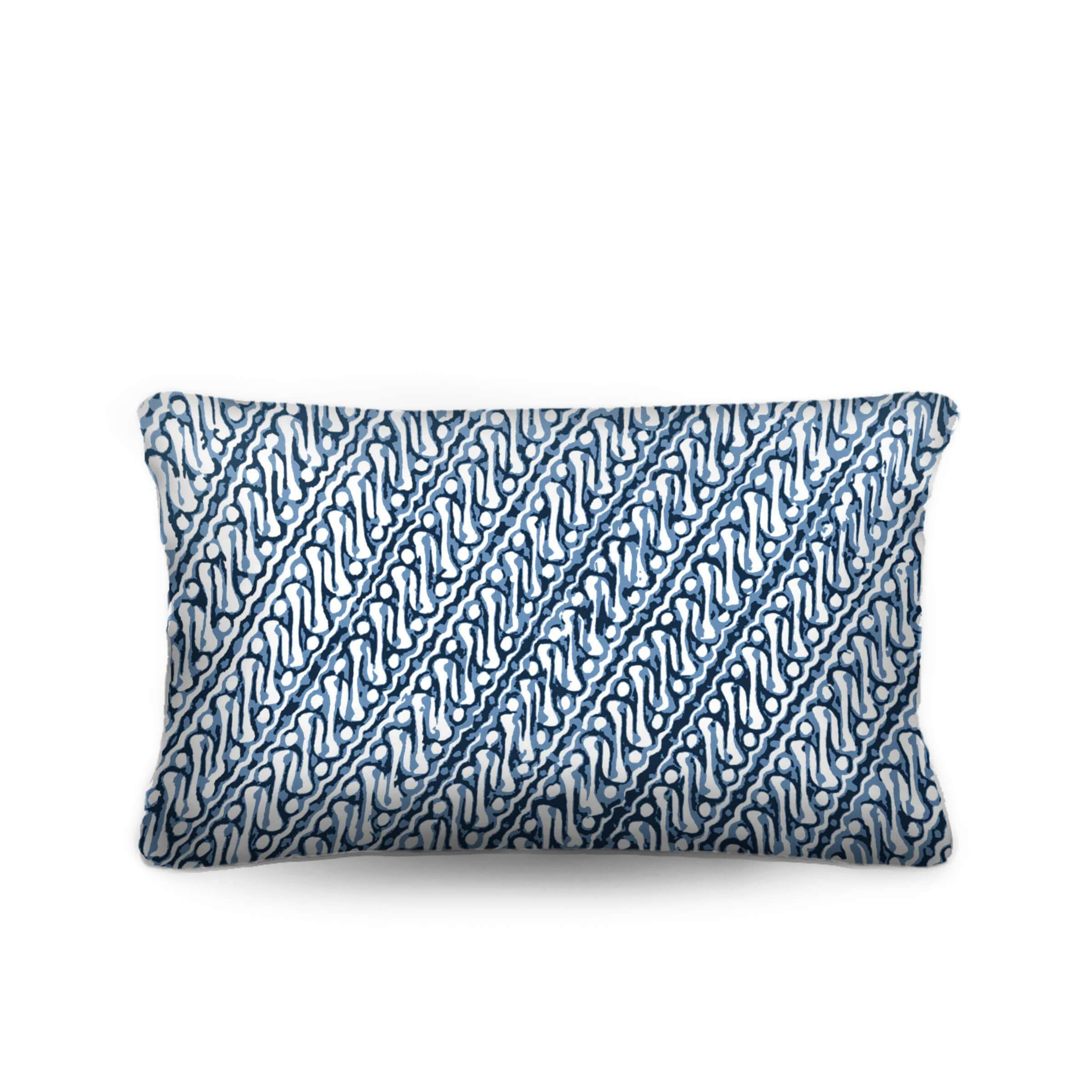 blue and white batik pillow