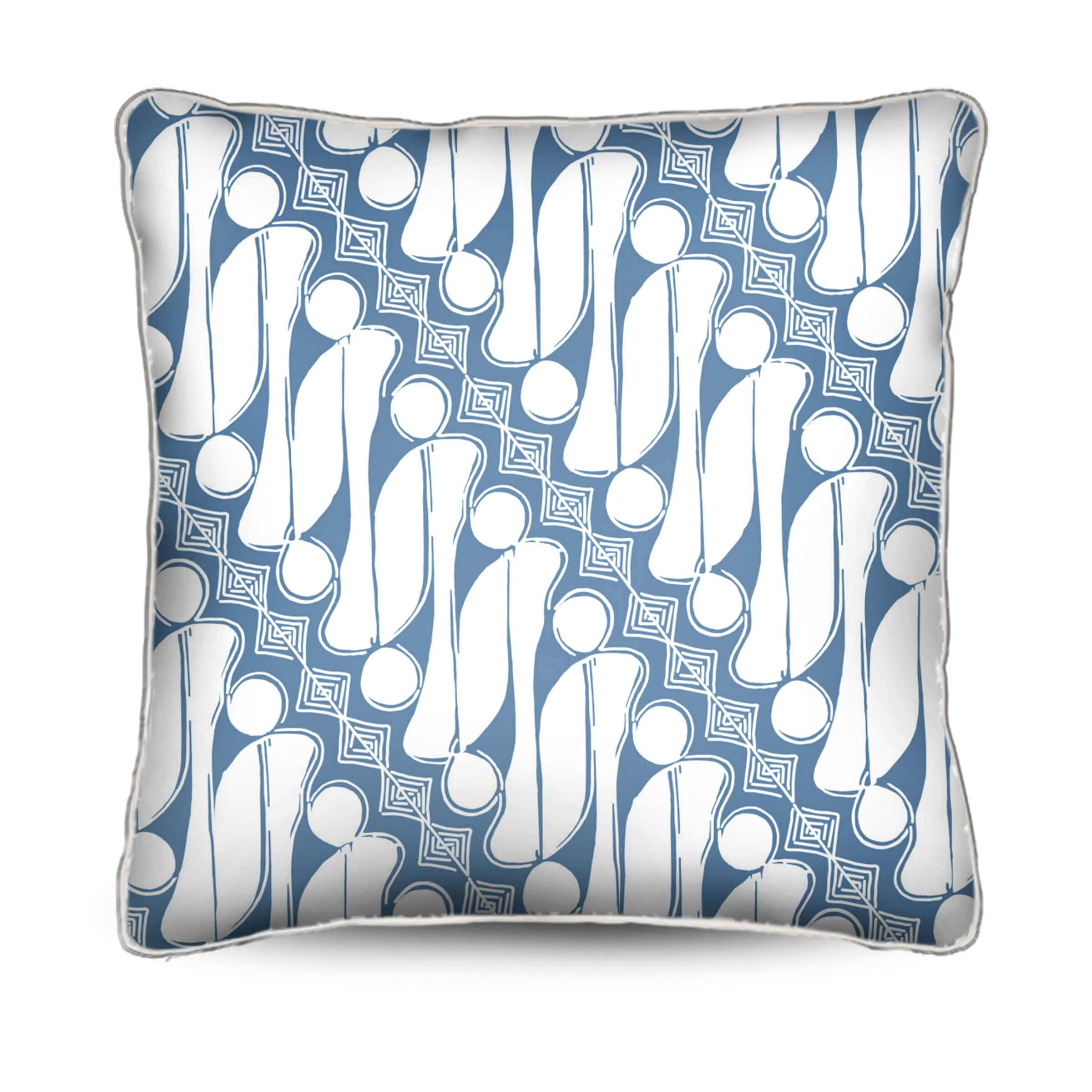 blue and white pillow, batik,