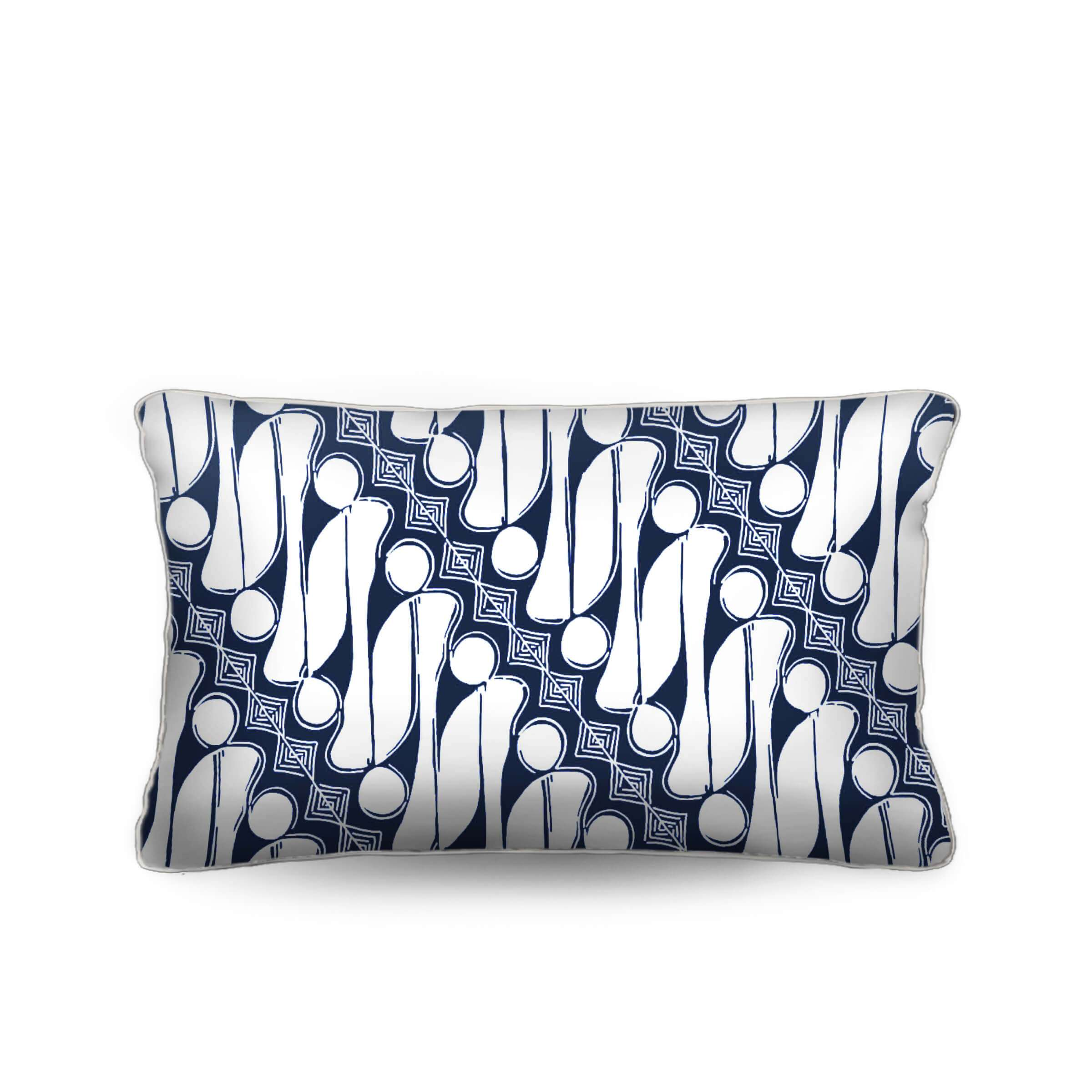 blue and white pillow, batik, foulard, lumbar