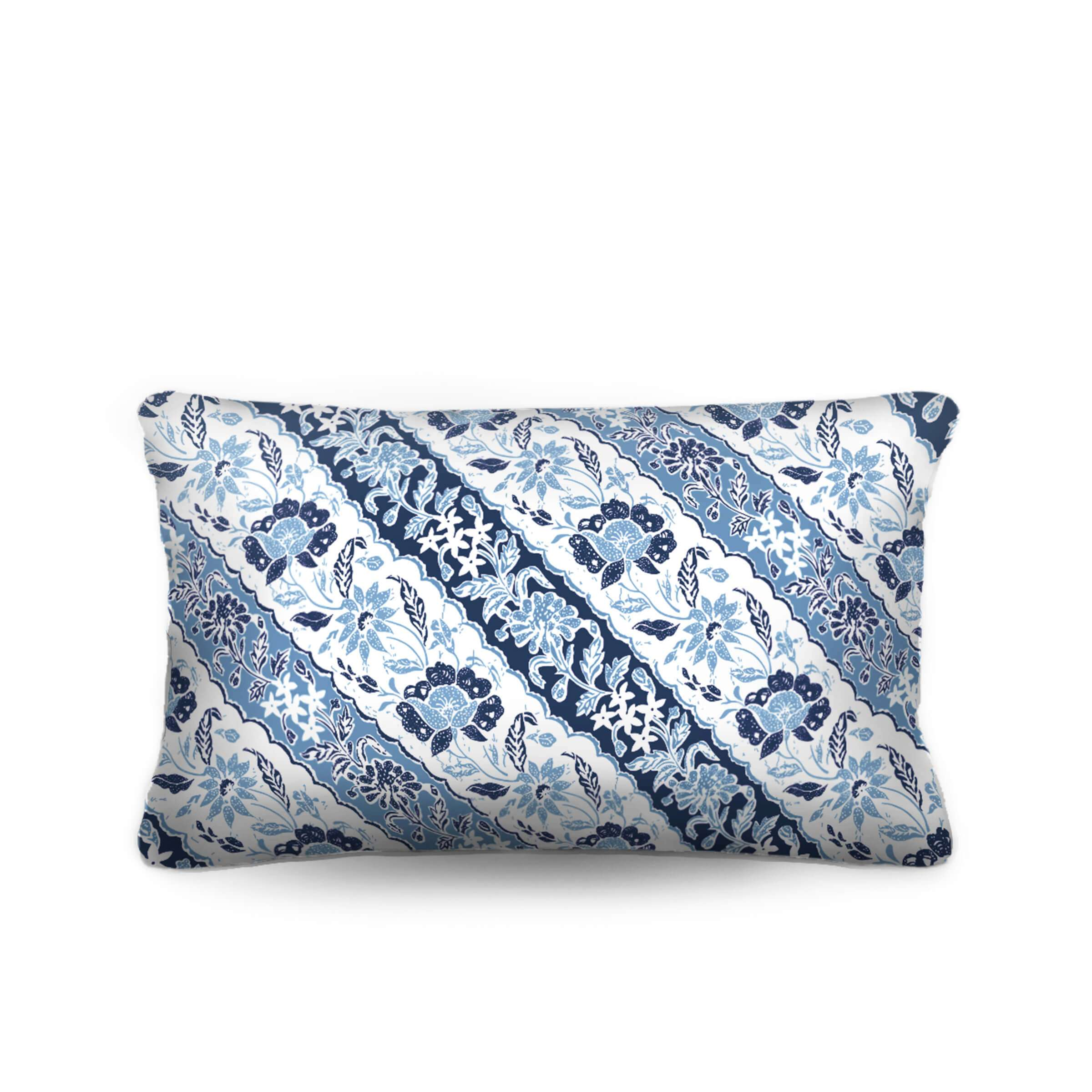 blue and white pillow, batik, lumbar