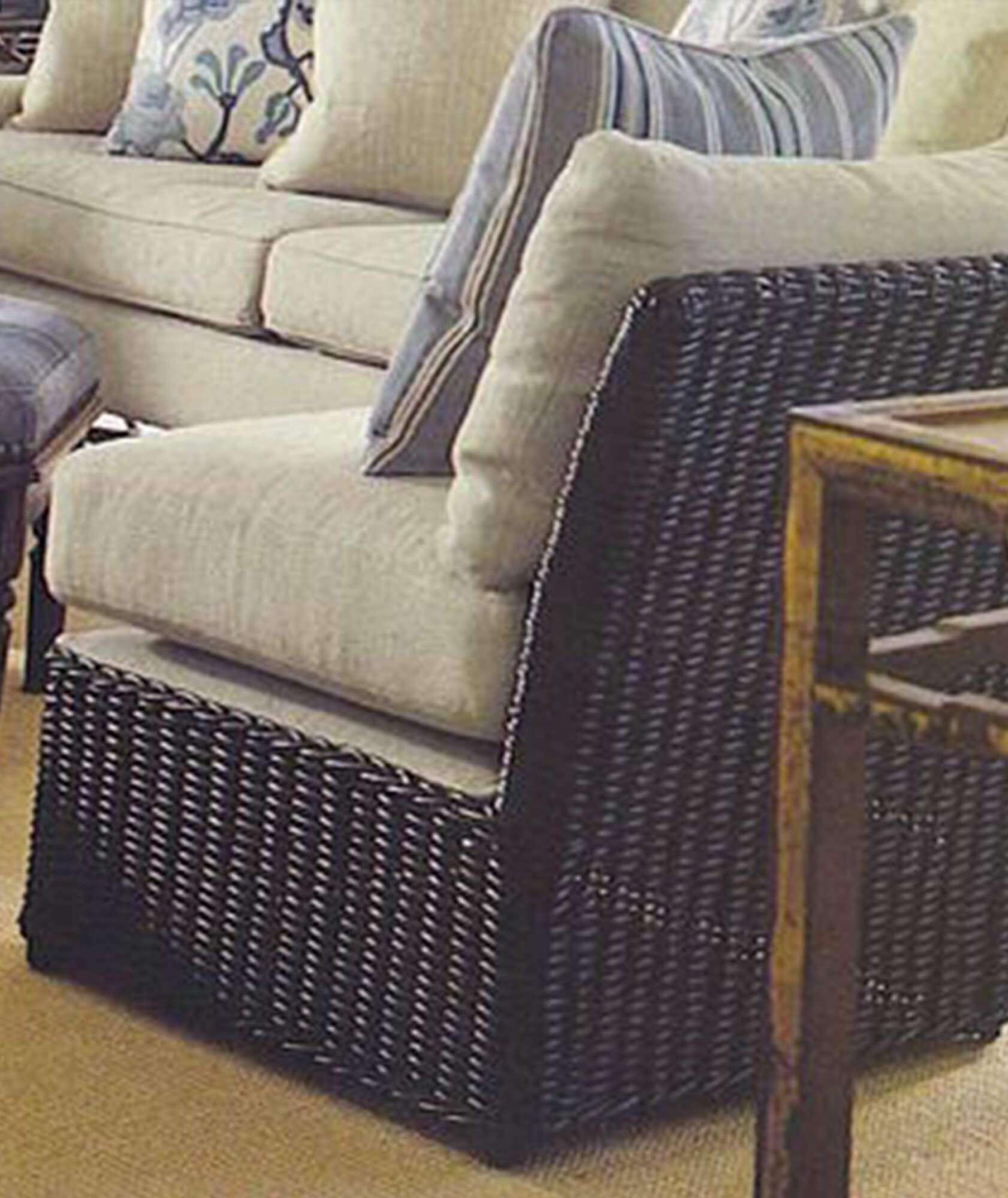 WICKER SLIPPER CHAIR RIGHTHAND - STUART MEMBERY HOME COLLECTION