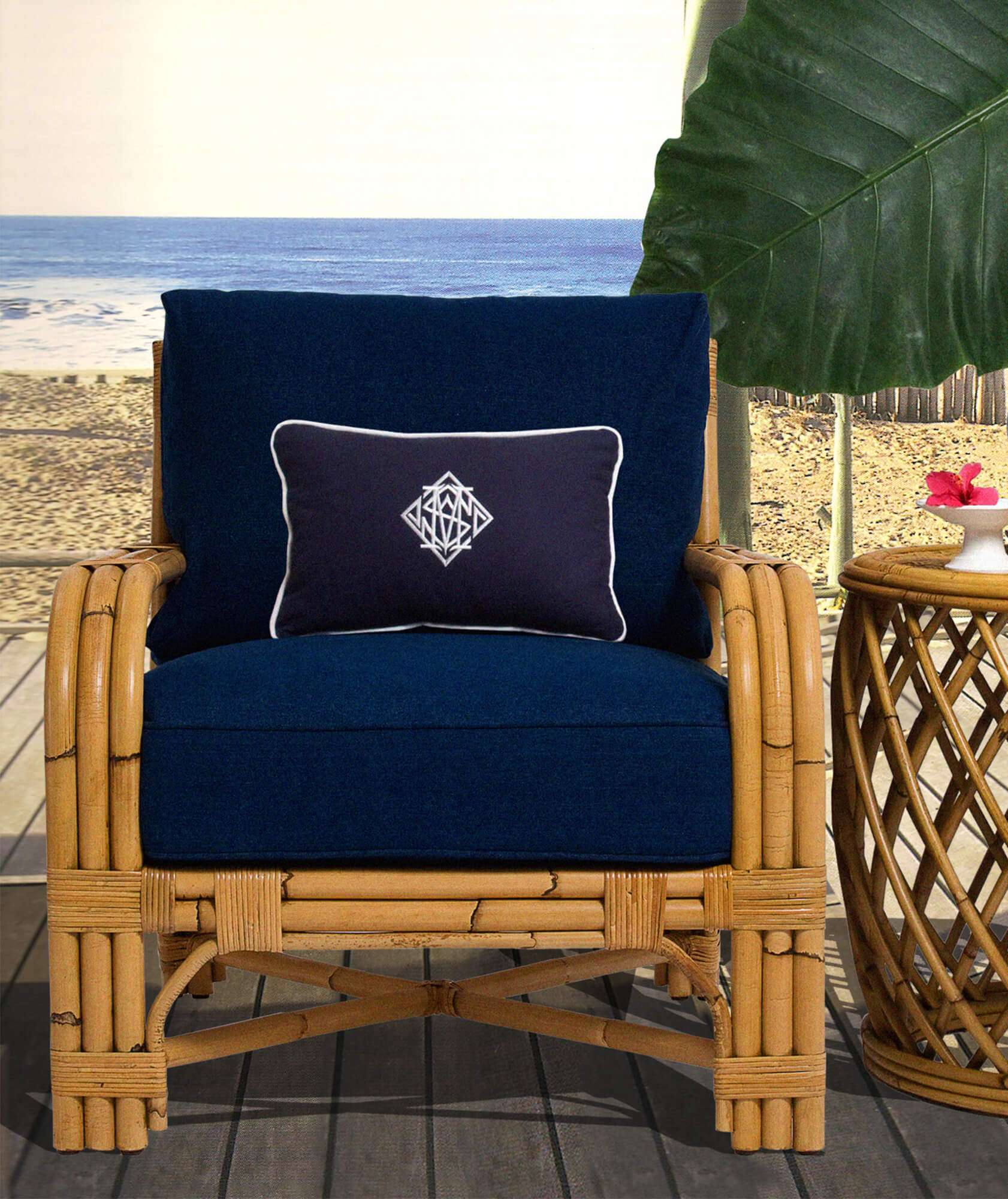 rattan furniture, rattan chair, monogram pillow, monogram cushion, navy and white