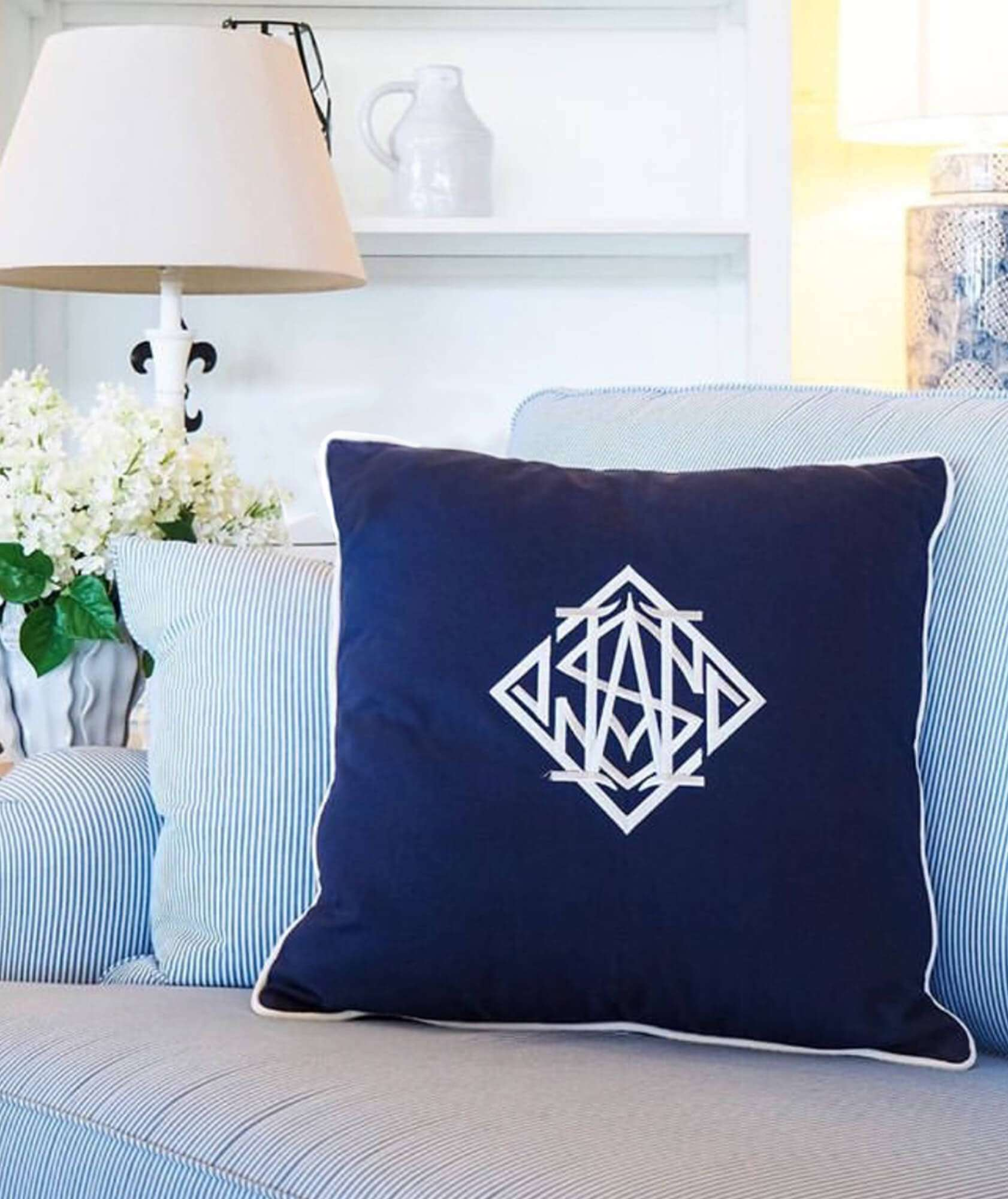 monogram pillow, monogram cushion, navy and white