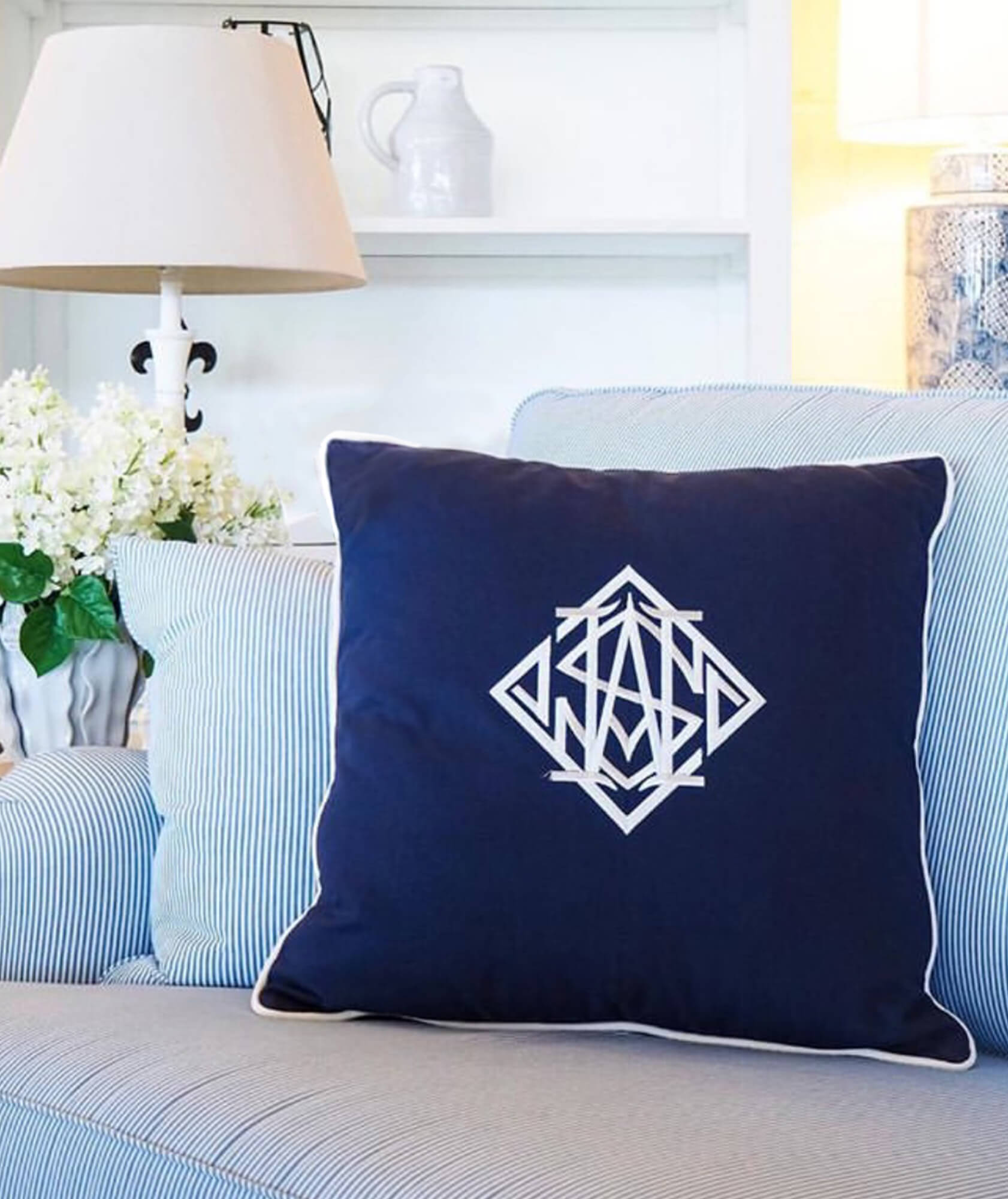 DIAMOND MONOGRAM NAVY RH2 - STUART MEMBERY HOME COLLECTION