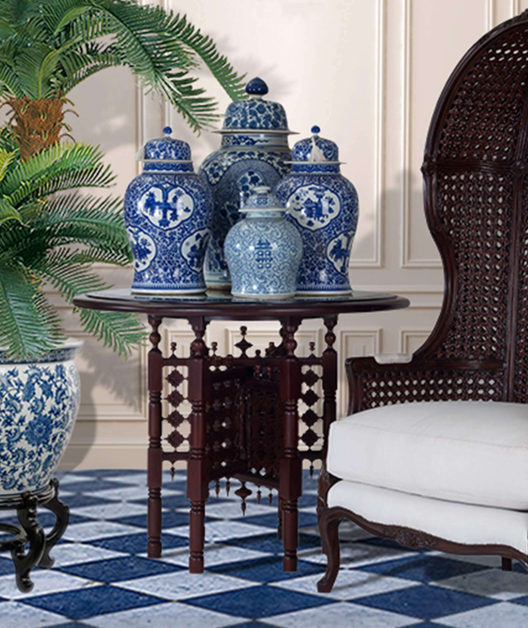 side table, fretwork, mogul, colonial furniture, occassional table, hall table